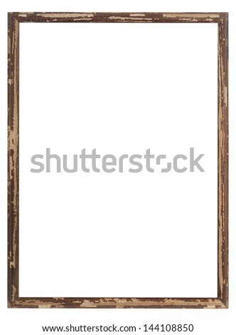 Old wood frame isolated on white. - stock photo