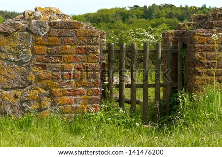 Old wood gate in the brick wall - stock photo