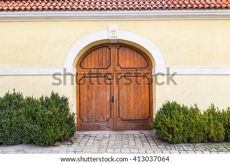 Old wood gate in the wall. Decorative painted, green plants. - stock photo