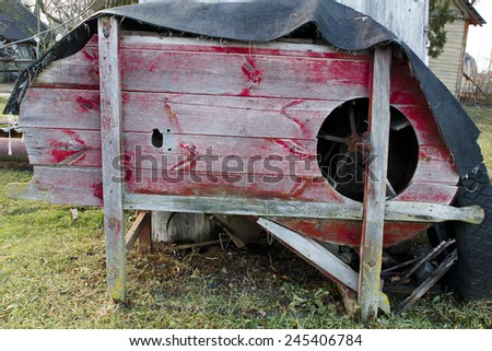 Old Wood machine for grains in farm.  - stock photo