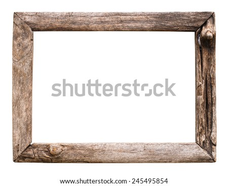 old wood picture frame isolate on white - stock photo