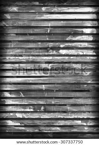 Old Wood Place Mat, Bleached and Gray Stained, Varnished, Cracked, Scratched, Peeled Vignette Grunge Texture. - stock photo