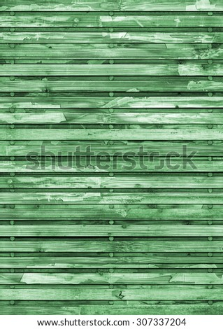Old Wood Place Mat, Bleached and Green Stained, Varnished, Weathered, Cracked, Scratched, Grunge Texture. - stock photo