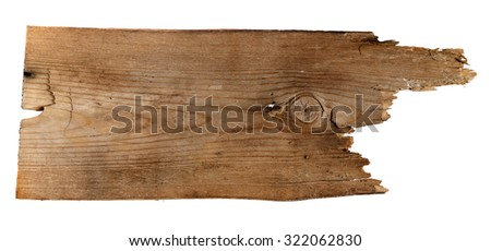 Old Wood plank, isolated on white background  - stock photo