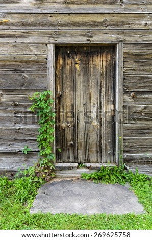 Old Wood Planked Door Entryway - stock photo
