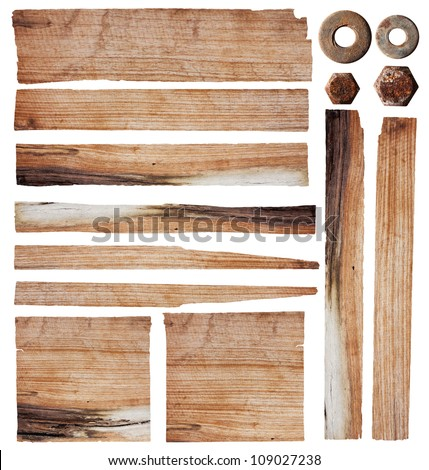 Old wood planks isolated on white background with clipping path - stock photo