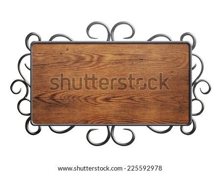 Old wood plate or sign in metal frame isolated on white - stock photo
