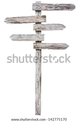 Old wood sign against a white background with clipping path - stock photo