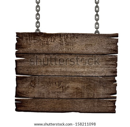 old wood sign board on chain - stock photo