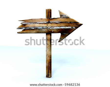 Old wood sign isolated on white - stock photo