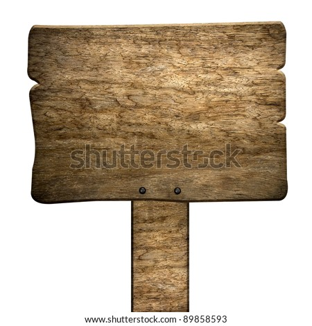 old wood sign (isolated with clipping path) - stock photo