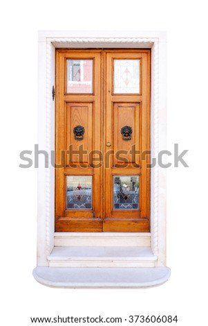 old wood simple door isolated on white background with clipping paths - stock photo