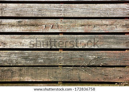 Old wood slat boards walking sidewalk pedestrian walk made of weathered wooden planks in an antique rural town viewed from above