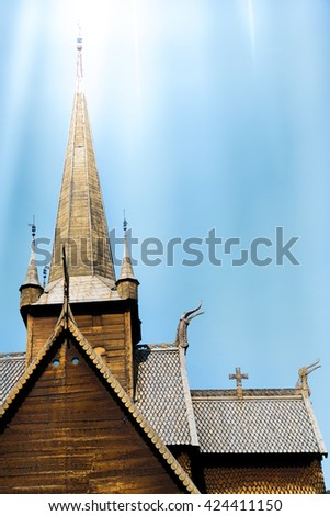 Old wood stave church in Lom, Norway - stock photo