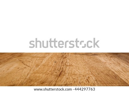 Old wood table isolated on white for montage and product presentation. 3D illustration