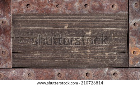 Old wood texture with metal elements - stock photo