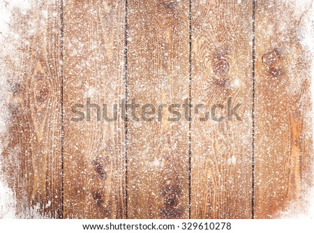 Old wood texture with snow christmas background - stock photo