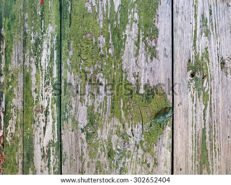 Old wood texture. Wooden background with peeling paint. - stock photo