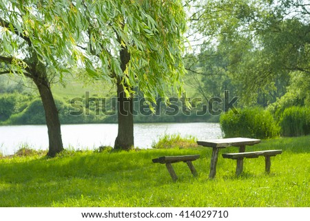 old wood trunk table and benches on river bank, focus on weeping willow lush on foreground - stock photo
