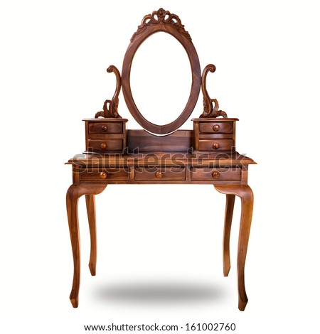 Old wood vanity table for a woman in the house - stock photo