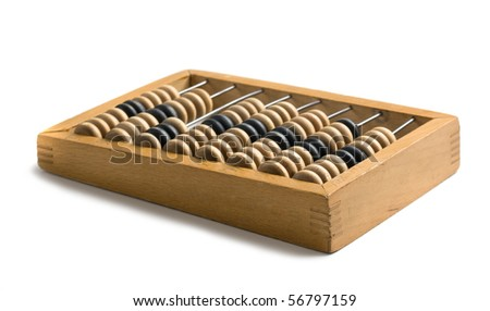 old wooden abacus  isolated on a white background - stock photo