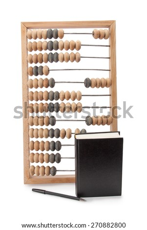old wooden abacus notebook and pen isolated on white background - stock photo