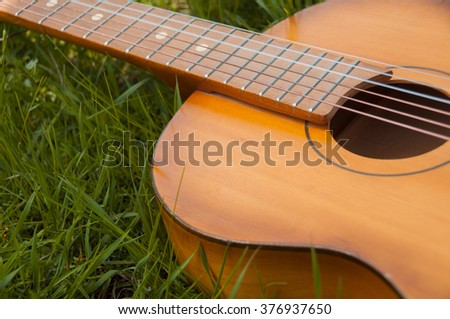 Old wooden acoustic guitar lying  in a green grassy field - stock photo