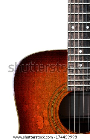 Old wooden acoustic guitar on white background - stock photo