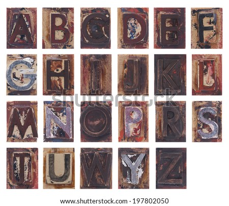 Old wooden alphabet letters isolated on white background - stock photo
