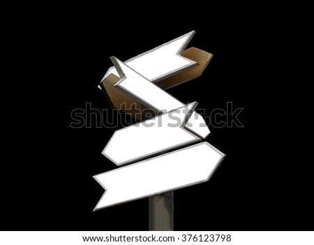 old wooden arrows road sign isolated on black - stock photo