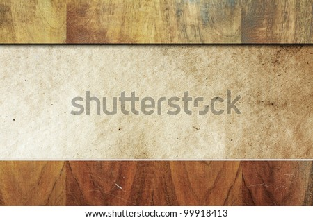 old wooden background with paper