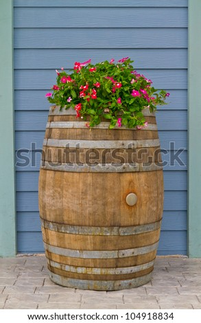 old wooden barrel covered with beautiful flowers - home decoration - stock photo