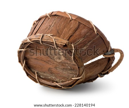Old wooden basket isolated on a white background - stock photo