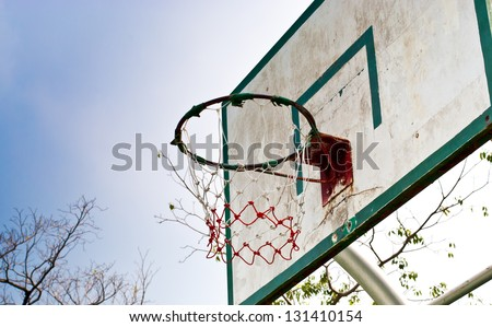 old wooden basketball hoop in the park - stock photo
