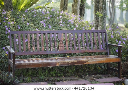 Old Wooden Bench in the garden.