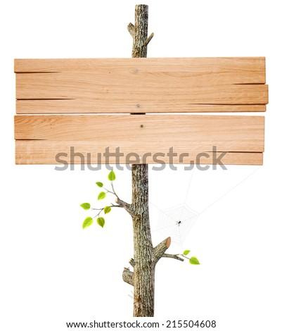 Old wooden billboard. Isolated on a white background. - stock photo