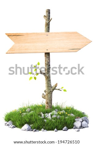 Old wooden billboard on the grass. Isolated on a white background. - stock photo