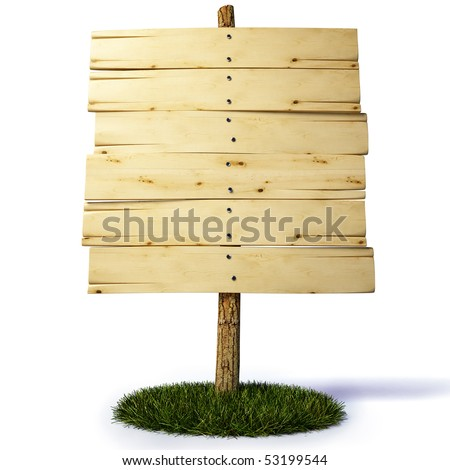 old wooden billboard. with clipping path. - stock photo