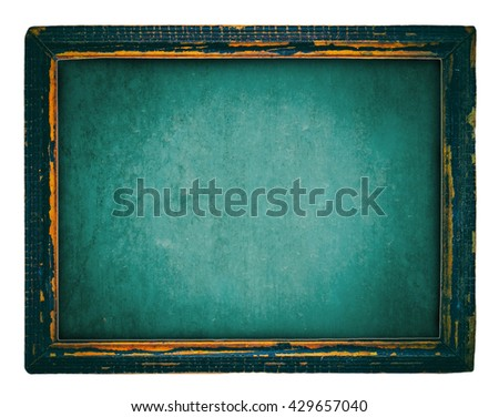 Old wooden blackboard isolated on white - stock photo
