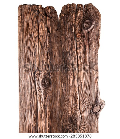 old wooden board on a white background - stock photo