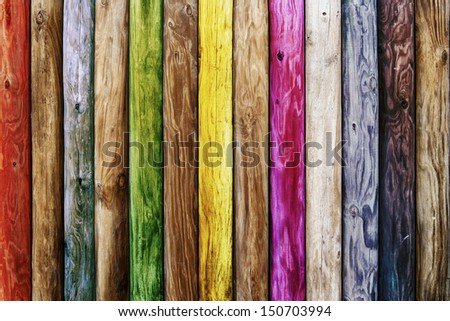 Old wooden boards of multicolor - stock photo