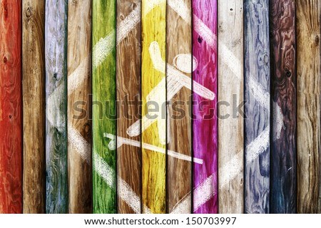 Old wooden boards of multicolor, symbol surf