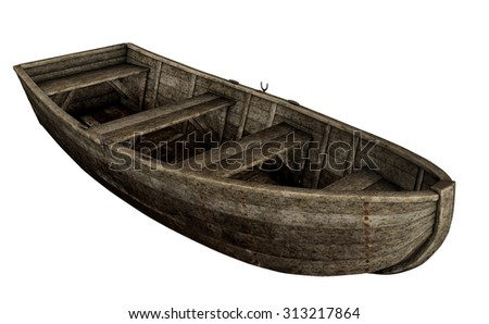 Old wooden boat isolated in white background - 3D render - stock photo