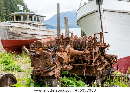 Old Wooden Boat on Alaskan Dry Dock