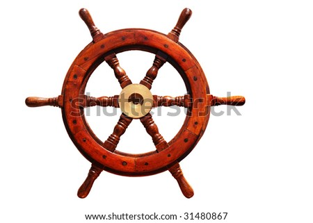 old wooden boat steering wheel isolated on white background - stock photo