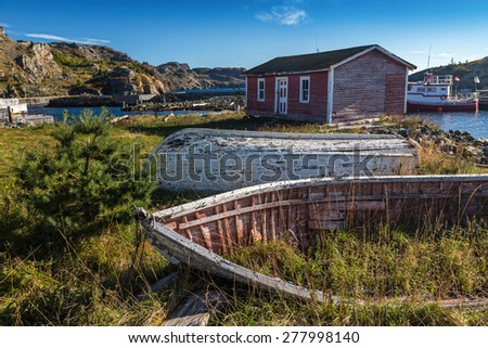 Old wooden boats in the town of Brigus, Newfoundland, Canada. - stock photo