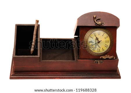 old wooden box and clock with real wood pencil