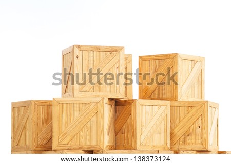 Old Wooden box isolated on white background transport cargo case industrial packaging parcel mail fragile transportation boxed wooden container package logistics storage timber  - stock photo