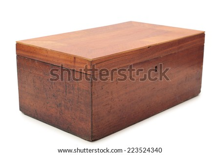 Old wooden box on a white background - stock photo