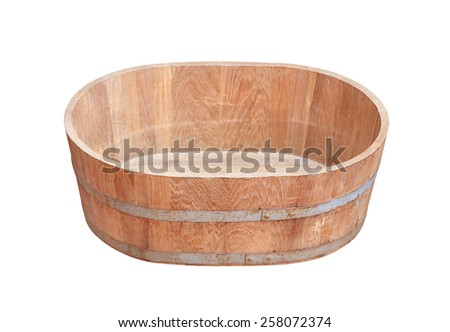 Old wooden bucket on white background - stock photo